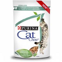 Purina Cat Chow Sterilised / Паучи Пурина Кэт Чау для Стерилизованных кошек с Курицей и баклажанами в соусе (цена за упаковку)