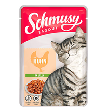Schmusy Cat Ragout Huhn in gelly / Паучи Шмузи для кошек кусочки Курицы в желе (цена за упаковку)