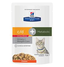 Hills Prescription Diet c\d Urinary Stress + Metabolic / Лечебные паучи Хиллс для кошек при Цистите вызванном Стрессом и для Коррекции веса Курица (цена за упаковку)