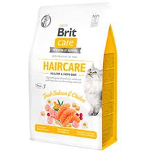 Brit Care Haircare Healthy & Shiny Coat Grain free / Сухой Беззерновой корм Брит для взрослых кошек Красивая кожа и шерсть Лосось Индейка