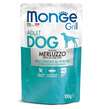 Monge Dog Grill Cod Fish / Влажный корм Паучи Монж Гриль для взрослых собак Треска (цена за упаковку)