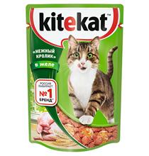 Kitekat / Паучи Китикет для кошек Нежный Кролик в желе (цена за упаковку)