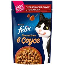 Felix Sensations / Паучи Феликс Сенсейшенс в соусе с Говядиной и Томатами (цена за упаковку)