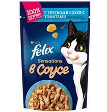 Felix Sensations / Паучи Феликс Сенсейшенс в соусе с Треской и Томатами (цена за упаковку)