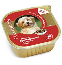 Dog Lunch / Консервы ДогЛанч для взрослых собак Мясные фрикадельки в нежном соусе Говядина (цена за упаковку)