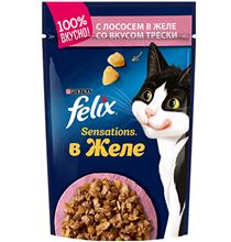 Felix Sensations / Паучи Феликс Сенсейшенс в желе с Лососем и Треской (цена за упаковку)