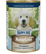 Happy Dog NaturLine Welpen / Консервы Хэппи Дог для Щенков Телятина с печенью, сердцем и рисом (цена за упаковку, Россия)