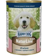 Happy Dog NaturLine Welpen / Консервы Хэппи Дог для Щенков Ягненок с печенью, сердцем и рисом (цена за упаковку, Россия)