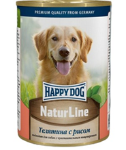 Happy Dog NaturLine / Консервы Хэппи Дог для собак Телятина с Рисом (цена за упаковку, Россия)