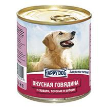 Happy Dog Вкусная Говядина / Консервы Хэппи Дог для собак Говядина с сердцем, печенью и рубцом (цена за упаковку, Россия)