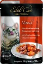 Edel Cat Птица и Кролик / Паучи Эдель Кэт нежные кусочки с Птицей и Кроликом в Желе Цена за упаковку