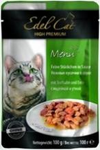 Edel Cat Индейка и Утка / Паучи Эдель Кэт нежные кусочки с Индейкой и Уткой в Соусе Цена за упаковку (20 шт x)