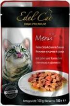 Edel Cat Печень и Кролик / Паучи Эдель Кэт нежные кусочки с Печенью и Кроликом в Соусе Цена за упаковку (20 шт x)
