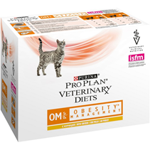 Purina Pro Plan Veterinary Diets OM Obesity Management / Лечебные паучи Пурина Про План Ветеринарная Диета для кошек Обесити Ожирение (цена за упаковку)