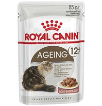 Royal Canin Ageing 12+ / Влажный корм (Консервы-Паучи) Роял Канин Эйжинг для Пожилых кошек старше 12 лет в Соусе (цена за упаковку)